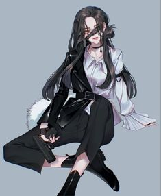 Dark Anime Girl, Pretty Anime Girl, Manga Anime Girl, Anime Girl Drawings, Beautiful Anime Girl, Anime Artwork, Kawaii Anime Girl, Anime Girls, Demon Manga