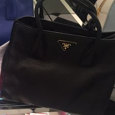 Black Prada Leather Handbag Brand new never used authentic Prada bag! Leather. Long Stap as well as handle straps. Prada Bags