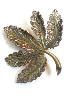 Vintage Sterling Vermeil Filigreed Leaf by GracesVintageGarden, $25.50