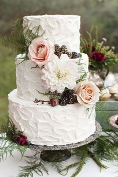 Wedding Themes Fall Wedding Cake: a buttercream wedding cake with metallic pine cones and blush roses. - Choose from these fun wedding themes for your autumn event. Textured Wedding Cakes, Wedding Cake Rustic, Fall Wedding Cakes, Wedding Cake Designs, Woodland Wedding, Elegant Wedding, Trendy Wedding, Gold Wedding, Floral Wedding