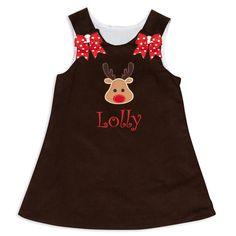 Girl's Personalized Brown Corduroy Aline Dress