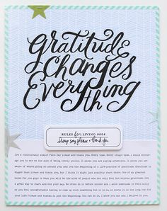 """Scrapbook LO """"gratitude changes everything"""" by artist Ali Edwards. A non-photograph scrapbook page. Love the label and star detail. Scrapbook Cards, Scrapbooking Ideas, Scrapbook Layouts, Project Life Layouts, Ali Edwards, Life Page, Baby Album, Day Planners, Journal Inspiration"""