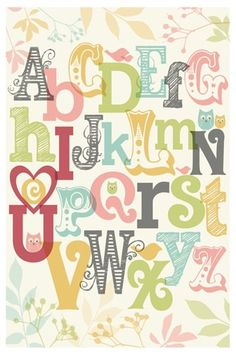 Sources for the most amazing alphabets. Would love this and just some plum accents in a girl's room.