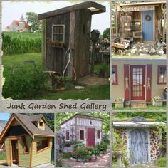 Funky little garden sheds, decorated with flea market finds and accessories made from junk - bliss!