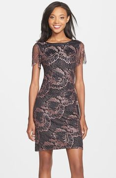 Adrianna Papell Metallic Lace Sheath Dress available at #Nordstrom
