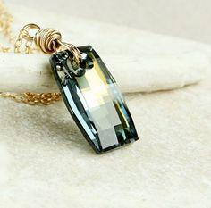 Golden Swarovski   Necklace   Elegant     Crystal by Hildes, $42.00