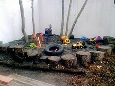 Stumps are also very versatile within a play space, and if you are nice to your local landscape supplier they may even be free! Stumps enclosing a sandpit can also be incorporated into a child's play or used for seating:
