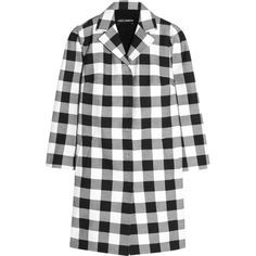 Dolce & Gabbana - Gingham Cotton Coat ($998) ❤ liked on Polyvore featuring outerwear, coats, black, cotton coat, pattern coat, print coat and dolce gabbana coat
