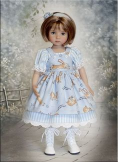 Bunny Love by Tauni for 13 Effner Little Darling Betsy McCall Madame Alexander American Girl Crafts, American Doll Clothes, Girl Doll Clothes, Girl Dolls, Effanbee Dolls, Blythe Dolls, Girl Dress Patterns, Doll Clothes Patterns, Madame Alexander Dolls