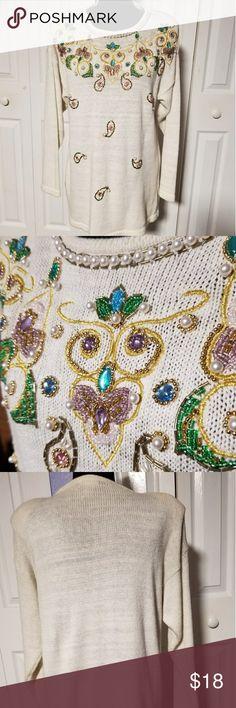 Ladies Sweater Very elegant  with stones  and beads sequins Victoria  Joans Sweaters Crew & Scoop Necks