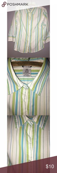"Ladies 3/4 Sleeve Button Down Sz Large Perfect springy colors of turquoise and lime green striped 3/4 sleeve button down. Size Large 12-14, armpit to armpit measures 21"", length is 25"" at the longest portion. Please ask any and all questions prior to purchase. Tops Button Down Shirts"