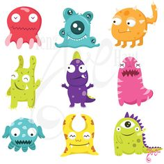 Cute Litter Monsters Clip art Set Personal and Commercial Use, cards, invitations, scrapbooking and all paper crafts. Doodle Monster, Monster Face, Cartoon Monsters, Cute Monsters, Scary Monsters, Cute Fantasy Creatures, Cute Creatures, Totoro, Cute Clipart