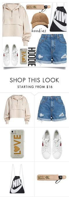 """hoodies"" by bbywolfy on Polyvore featuring Ivy Park, Nobody Denim, Edie Parker, Marc Jacobs, NIKE, Moschino and Hoodies"