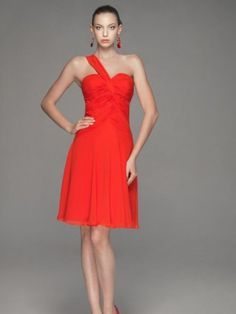 2012 Style A-line One Shoulder Ruffles  Sleeveless Knee-length  Chiffon Bridesmaid Dress / Cocktail Dress / Homecoming Dress