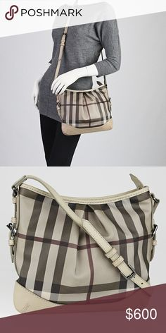 BURBERRY Smoked Trench Canvas Hartham Crossbody Burberry Smoked Trench Coated Canvas Hartham Crossbody Bag that has inverted pleated detailing on both sides. The strap can be adjusted to be carried over the shoulder or across the chest. The classic Burberry print in a more subdued color palette with grey leather trim. This is the perfect day bag for the fashionista on-the-go!  Showing some marks (last photo) and minor wear from gentle use but overall great condition inside and out. Burberry…
