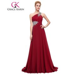 c522d4544ac2 Grace Karin Long Evening Dress Chiffon Formal Prom Dresses One Shoulder  Elegant Evening Gowns Party Dress