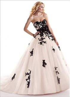 Amazing Stylish Tulle & Satin Ball Gown Sweetheart Neckline Raised Waist Wedding Dress...i love this but in red and white!