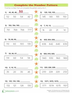 Worksheets: Number Patterns on the Beach