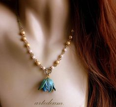 Real Flower Necklace Natural Seed Jewelry Seed Pod by WhiteTeapot, $36.00
