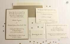 gold wedding invitations by blush paperie (via EmmalineBride.com)