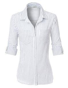 Women's Work shirts Womens Lightweight Cotton Striped Button Down Shirt Formal Shirts, Casual Shirts, Nike Dama, Tailored Shirts, Long Blouse, Work Shirts, Womens Fashion For Work, Work Attire, Shirt Sleeves
