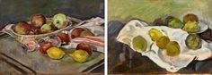 Georges Borgeaud - Natures mortes aux pommes et citrons, 1960 - Huile sur carton, 27,5x38,5 cm.