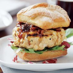 Chicken Burgers with Barbecue Onion Sauce | Rachael Ray Every Day