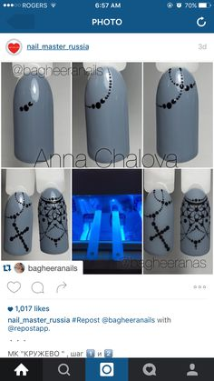This hand painted Rosary nail art design is beautiful.