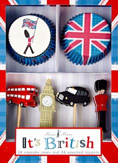 British themed Cupcake kit #england #london #brit #british #crown #cupcake #cake #cupcakes #stand #party #sweets #pastry #tea #Royal #wedding #union #jack #bus #car #beafeater