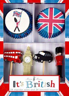 British themed Cupcake kit #england #london #brit #british #crown #cupcake #cake #cupcakes #stand #party #sweets #pastry #tea #Royal #wedding  #union #jack #bus #car #beafeater
