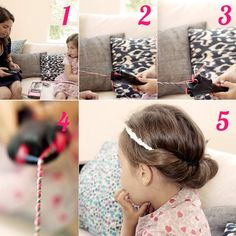 [before / after] To make your daughter the most beautiful children, use the twist secret and the specialized kits to achieve a headband around which you enroulerez his hair. Most Beautiful Child, Beautiful Children, Messy Bun Hairstyles, Daughter, Hair Styles, Fashion, Hair, Hair Plait Styles, Moda