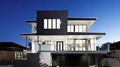 Black and white home design, Melbourne Custom Builders. Big Houses, White Houses, Custom Home Builders, Custom Homes, Display Homes, Architect Design, Contemporary Architecture, Black House, House Plans
