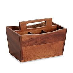 This wooden utensil caddy is crafted from elegant acacia wood and features a premium finish which makes this plate perfect for any dining occasion. This unique piece is hand wash only and is sure to bring some style to your table setting.