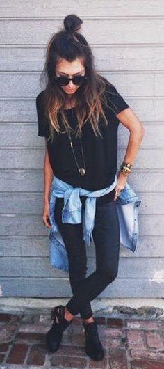 summer outfits Black Tee + Black Skinny Jeans