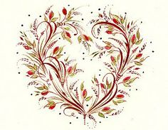 Heather Held Ink Flourishes: Small Redwork Heart