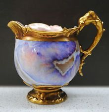 RARE C.1890 Chicago Exposition Antique Coalport gilded Agate ewer cream jug #1/2