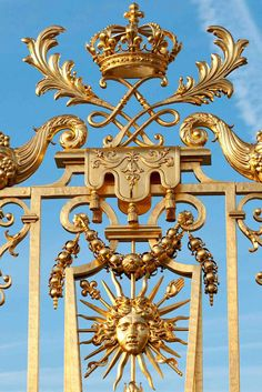 Detail of entrance gate at Versailles, designed by the Sun King himself, Louis XIV.