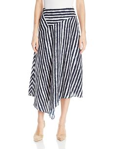 AX Armani Exchange Womens Light Twill WhiteandNavy Asymmetrical Maxi Skirt Stripe 14 * Much more information could be located at the image link. (This is an affiliate link). Jersey Skirt, Striped Jersey, Navy Stripes, Navy Blue, Stripe Skirt, Skirt Suit, Skirt Fashion, Amazing Women, Clothes For Women