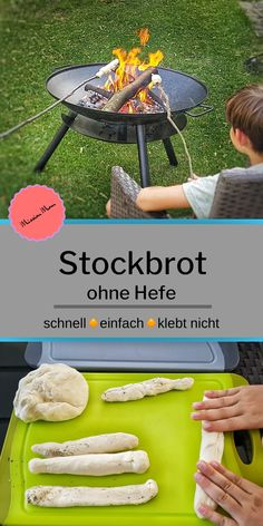 Stockbrot ohne Hefe - schnelles, einfaches Rezept * Mission Mom Grilling stick bread with children is really fun. My stick bread dough comes without yeast. The advantage is that the dough with b Bread Without Yeast, Foil Pack Meals, Grilling Tips, Recipe For Mom, Making Recipe, Recipe List, Cooking With Kids, Children Cooking, How To Make Bread