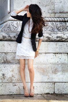 White lace dress with a black blazer.