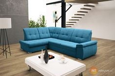 Dopřejte hostům nejen pohodlné sezení, ale také komfortní přespání na rozkládací sedačce Faun s ložnou plochou 130 x 207 cm. Levé i pravé rohové provedení. Couch, Furniture, Home Decor, Decoration Home, Room Decor, Sofas, Home Furniture, Sofa, Interior Design