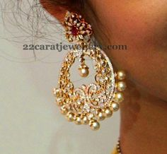22 carat gold huge floral theme diamond chandbalis with rose cut and round diamonds with ruby combination. Small round south sea pearls d...