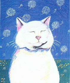 Dandelion Breeze white cat greeting card by StudioLolo2 on Etsy