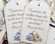 Classic Winnie the Pooh & Friends Quote Tags- Set of 6 - Vintage Inspired / Cottage Chic - Favors, Baby Showers, Birthdays