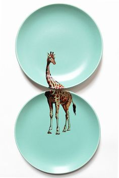 Giraffe plates by yvonneellen on Etsy, $44.00