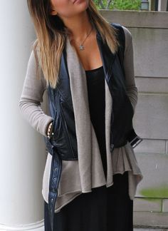 Dig it:  leather (or jean) vest over drapey cardigan | Gloss Fashionista