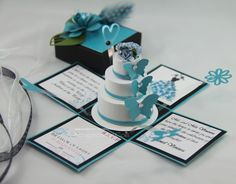Jinky's Crafts & Designs: Turquoise Blue and Black Exploding Invitation Box