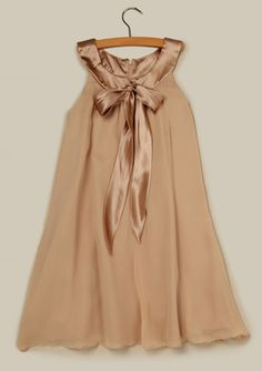US ANGELS  Silk Satin & Georgette Trapeze Dress with Bow - Flower Girls
