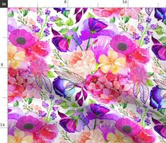 Wedding Floral Fabric - Pretty In Pink Watercolor Floral By Theartwerks - Watercolor Floral Cotton Fabric By The Metre by Spoonflower Pretty In Pink, Pink Cushions, Custom Printed Fabric, Flower Pillow, Pink Summer, Minky Fabric, Pink Watercolor, Floral Fabric, Fabric Swatches