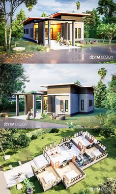 Life gets cozier with this three-bedroom one-storey Thai-design house House Floor Design, Modern Bungalow House Design, Modern Bungalow Exterior, Modern House Floor Plans, House Layout Plans, Simple House Design, Dream House Plans, House Layouts, House Construction Plan
